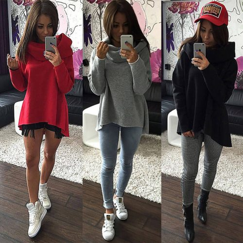 Ruffle Collar Long Sleeve Loose Sweater