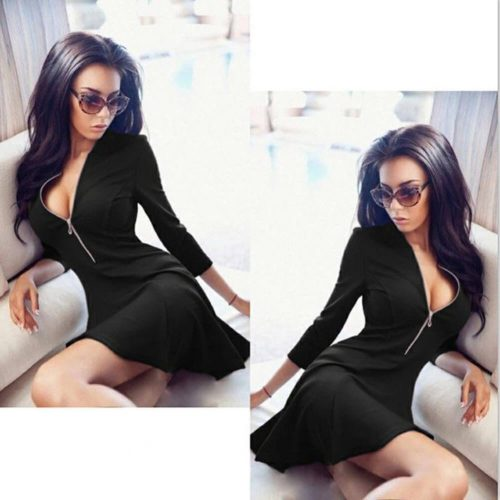Sexy V-Neck Zipper Dress Black
