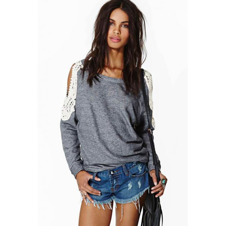 Off-Shoulder Causal Lace Tops T- Shirt Grey