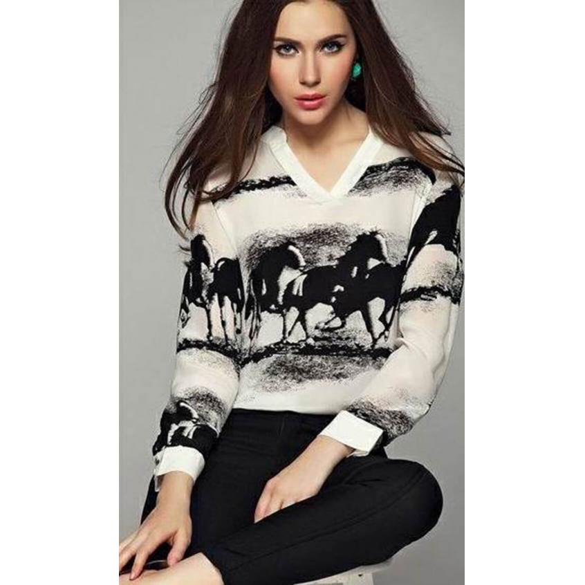 Ink Horse Print Slim Blouse