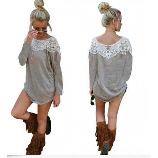 Causal Lace Loose Top Grey