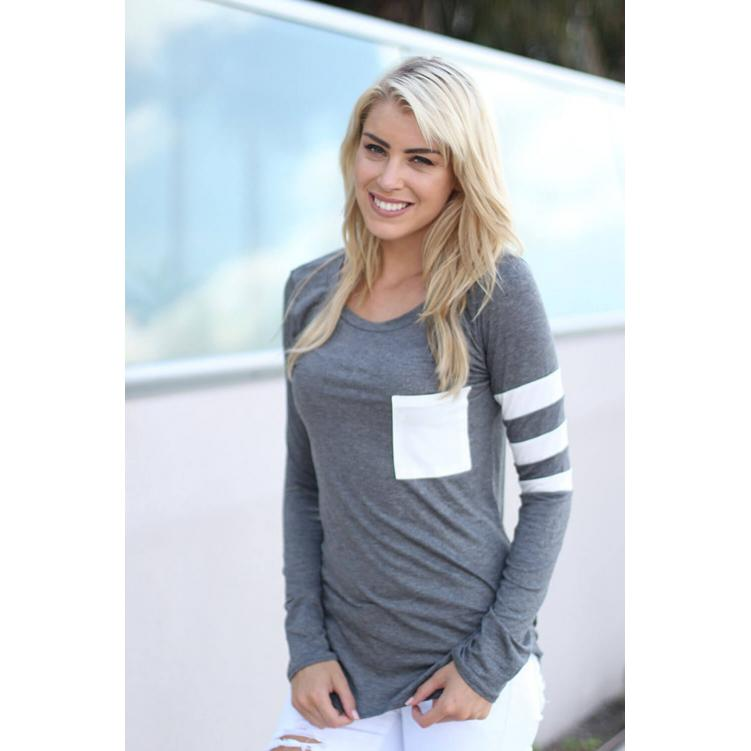 Casual Loose Long Sleeve T-Shirt Grey