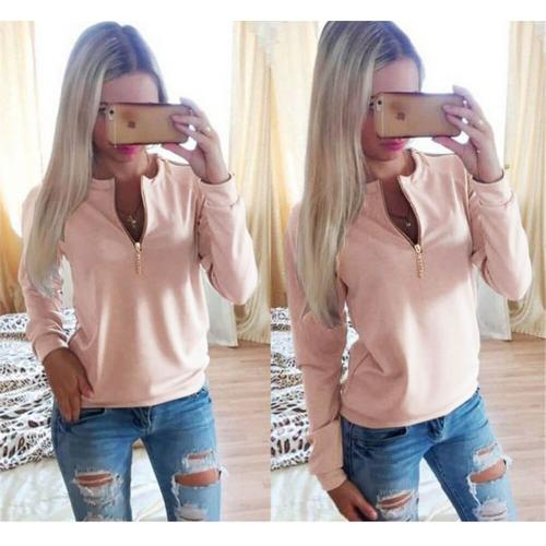 V-Neck Long Sleeve Tops Pink
