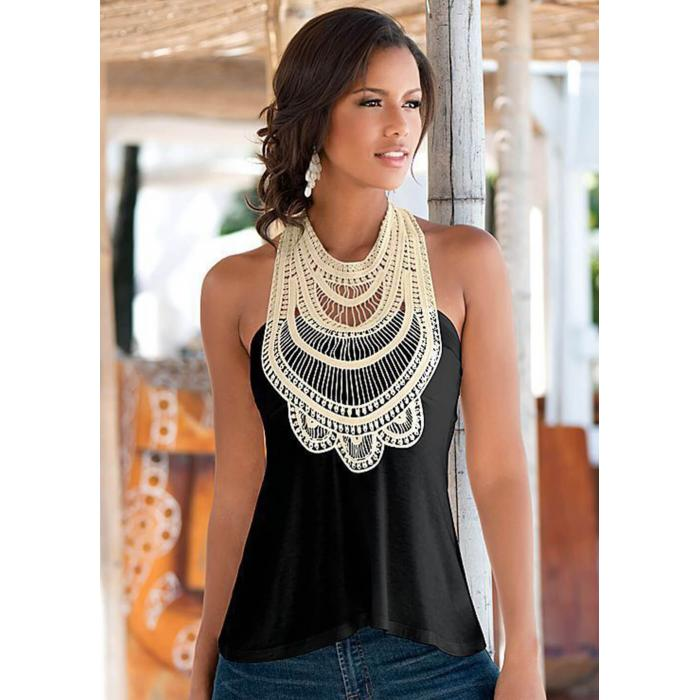 Sleeveless Crochet Top Black