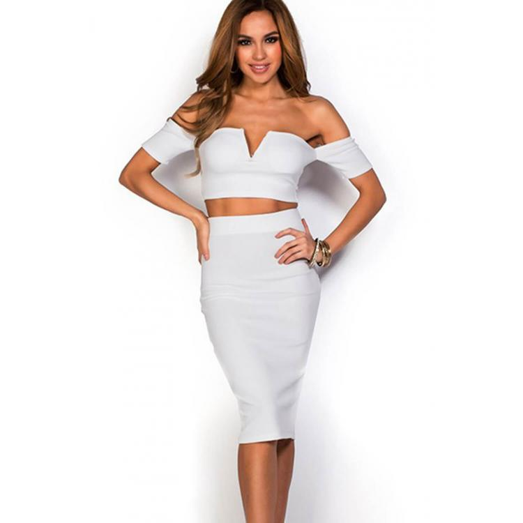 Sexy Strapless Two Pcs Bodycon Dress White
