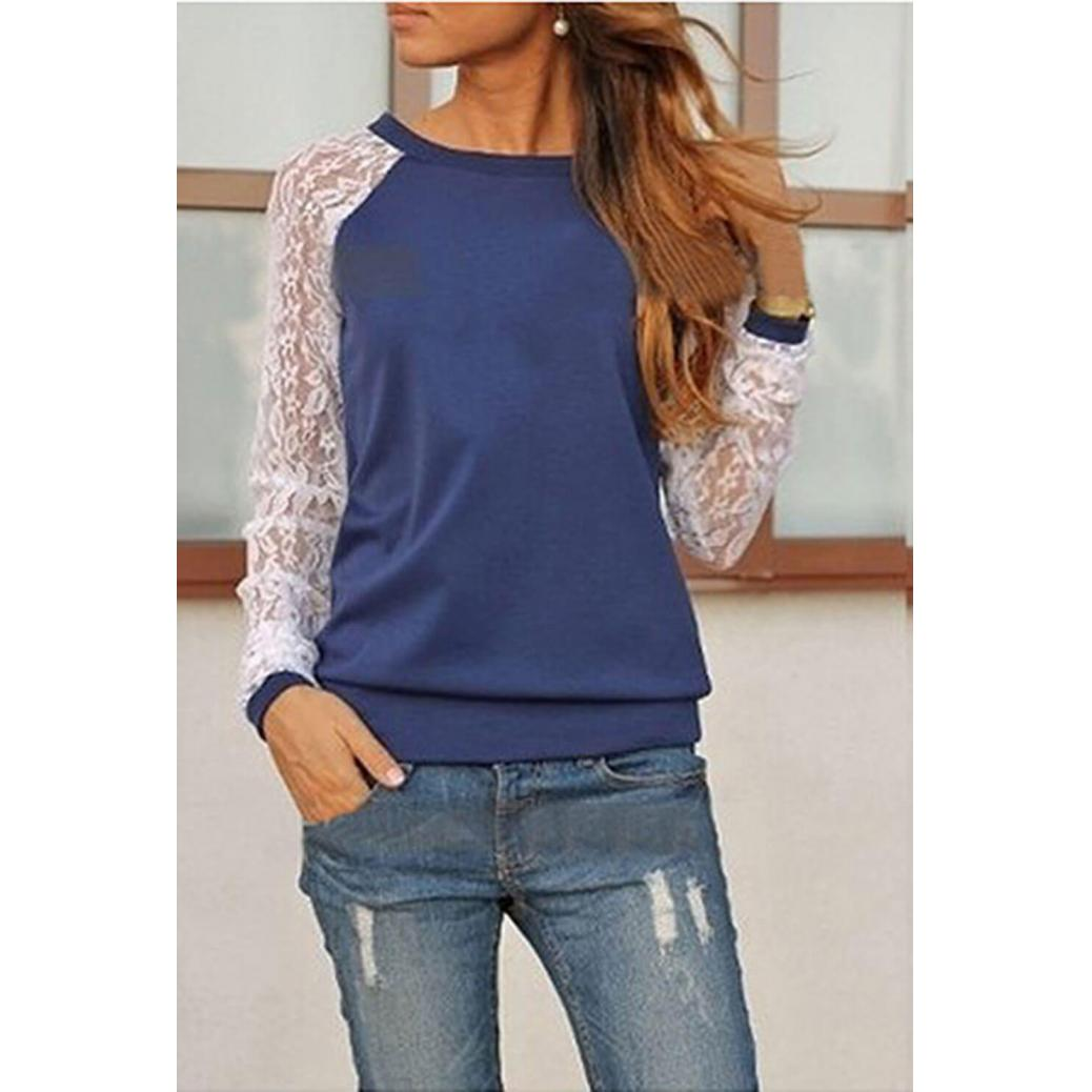 Lace O-Neck Casual T-Shirt Blue