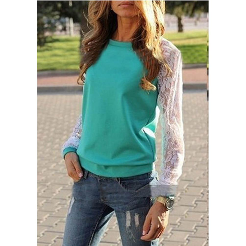 Lace O-Neck Casual T-Shirt Green