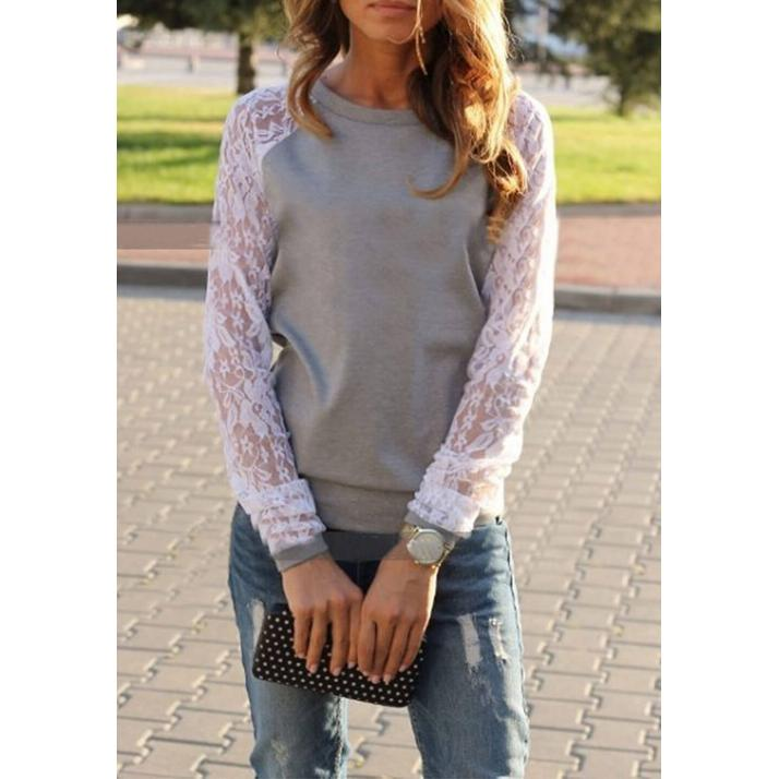 Lace O-Neck Casual T-Shirt Grey