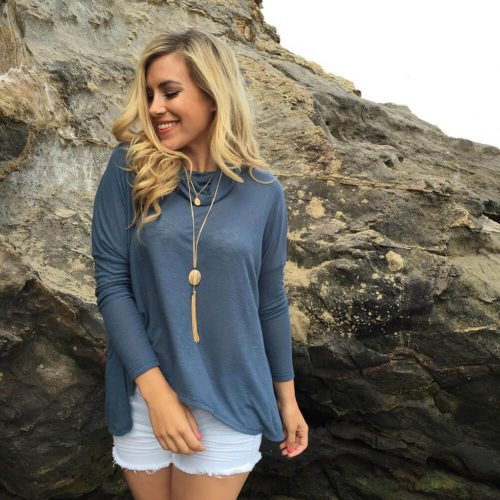 Long Sleeve Chiffon Wrap Back T-Shirt Blue