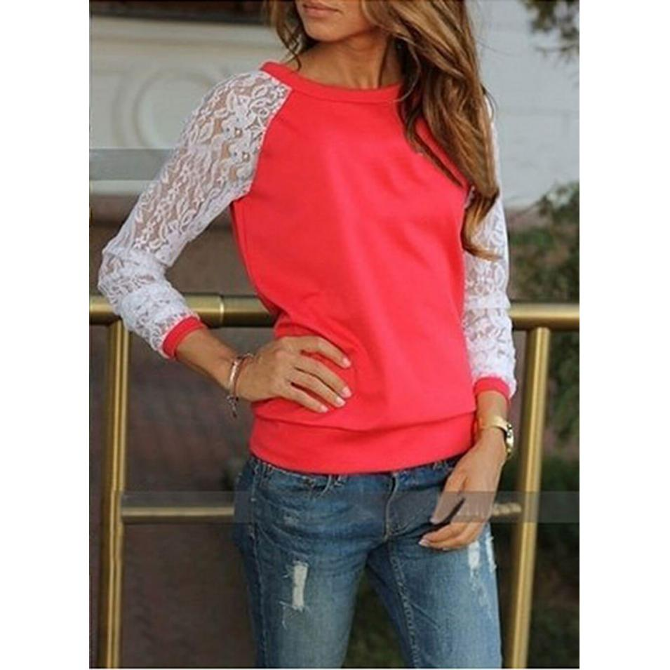 Lace O-Neck Casual T-Shirt Rose Red