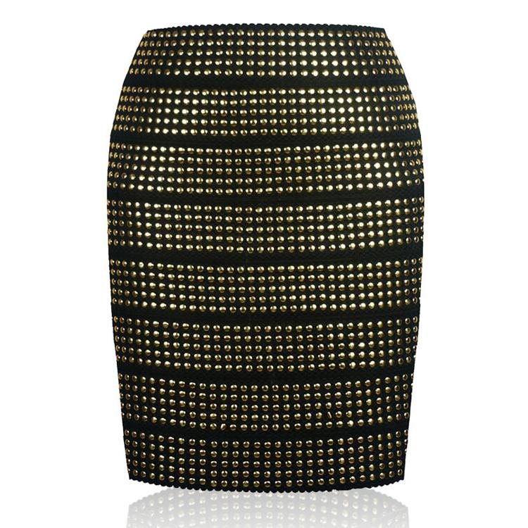 Zipper Back RIVET STUD Skirt Gold