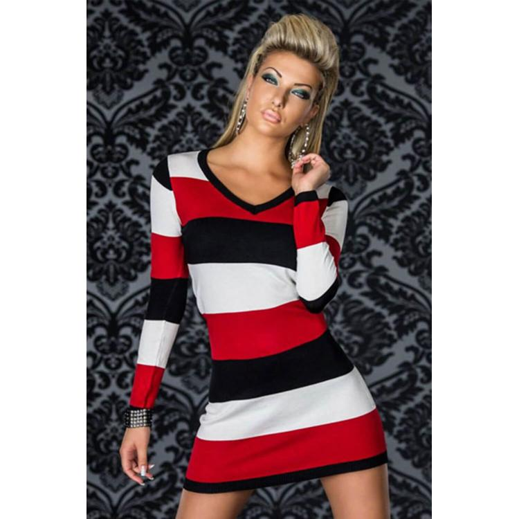 V-Neck Long-Sleeve Striped Dresses