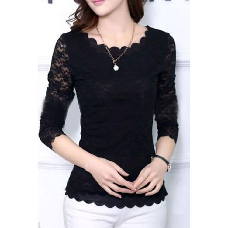 Long Sleeve Lace Blouse Black