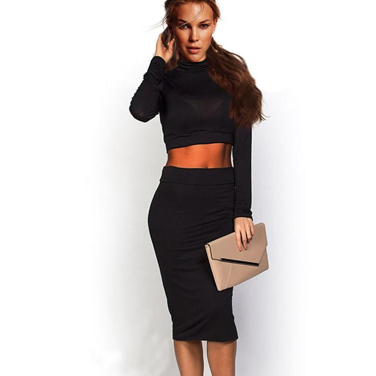 Long Sleeve Two Pcs Bodycon Dress Black