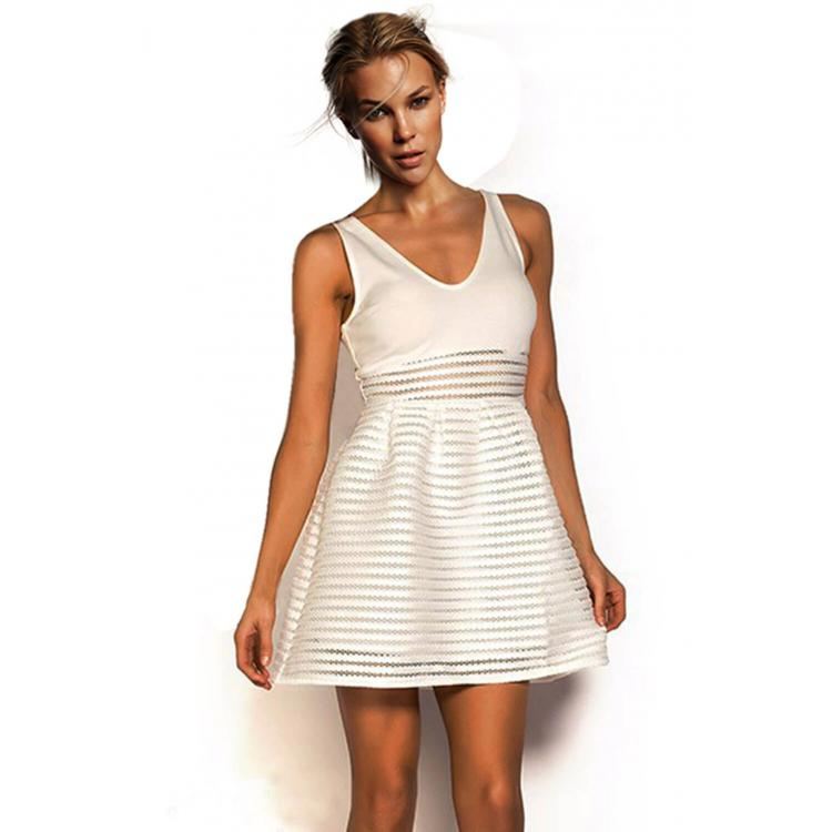 V-neck Sleeveless Summer Dress White