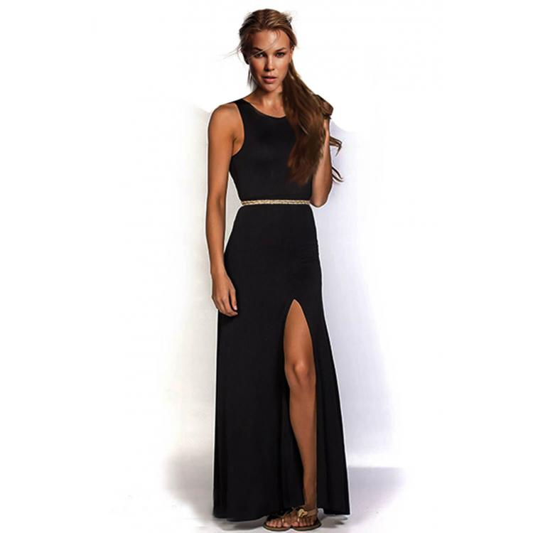 Sexy Slit Sashes Bodycon Dress Black
