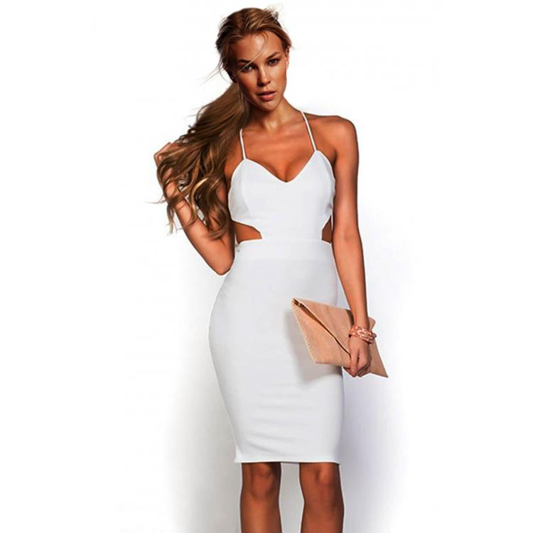 One Piece Halter Neck Bodycon Dress White