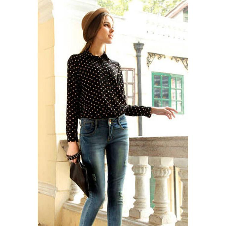 Long Sleeve Chiffon Shirt Black