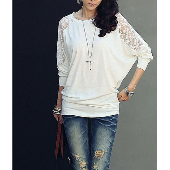 Long Sleeve Dolman Lace Loose T-Shirt White