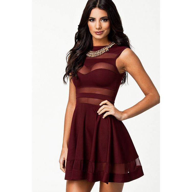 Red Strips Transparent Skater evening Cocktai Party Dress