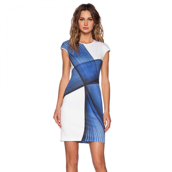 Stylish Bodycon Dress White & Blue