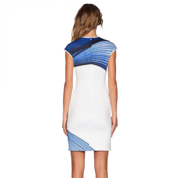 Stylish Bodycon Dress White & Blue Back