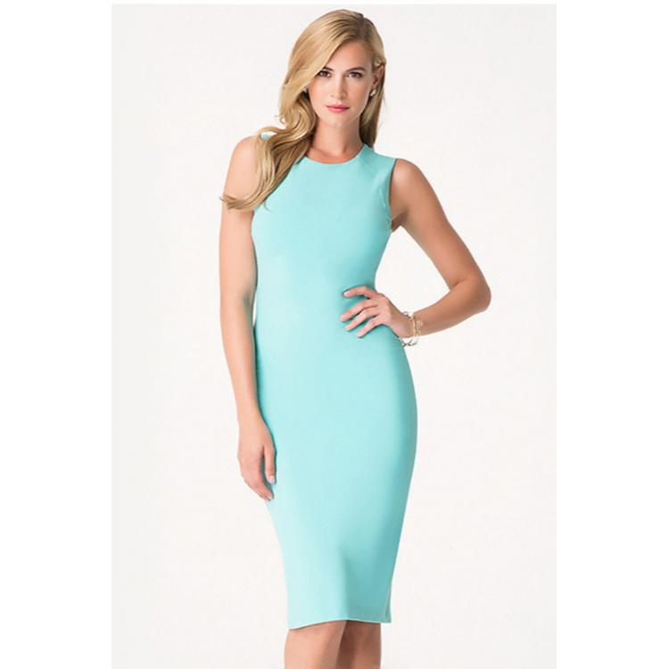 Sleeveless Midi Bodycon Dress Lake Blue