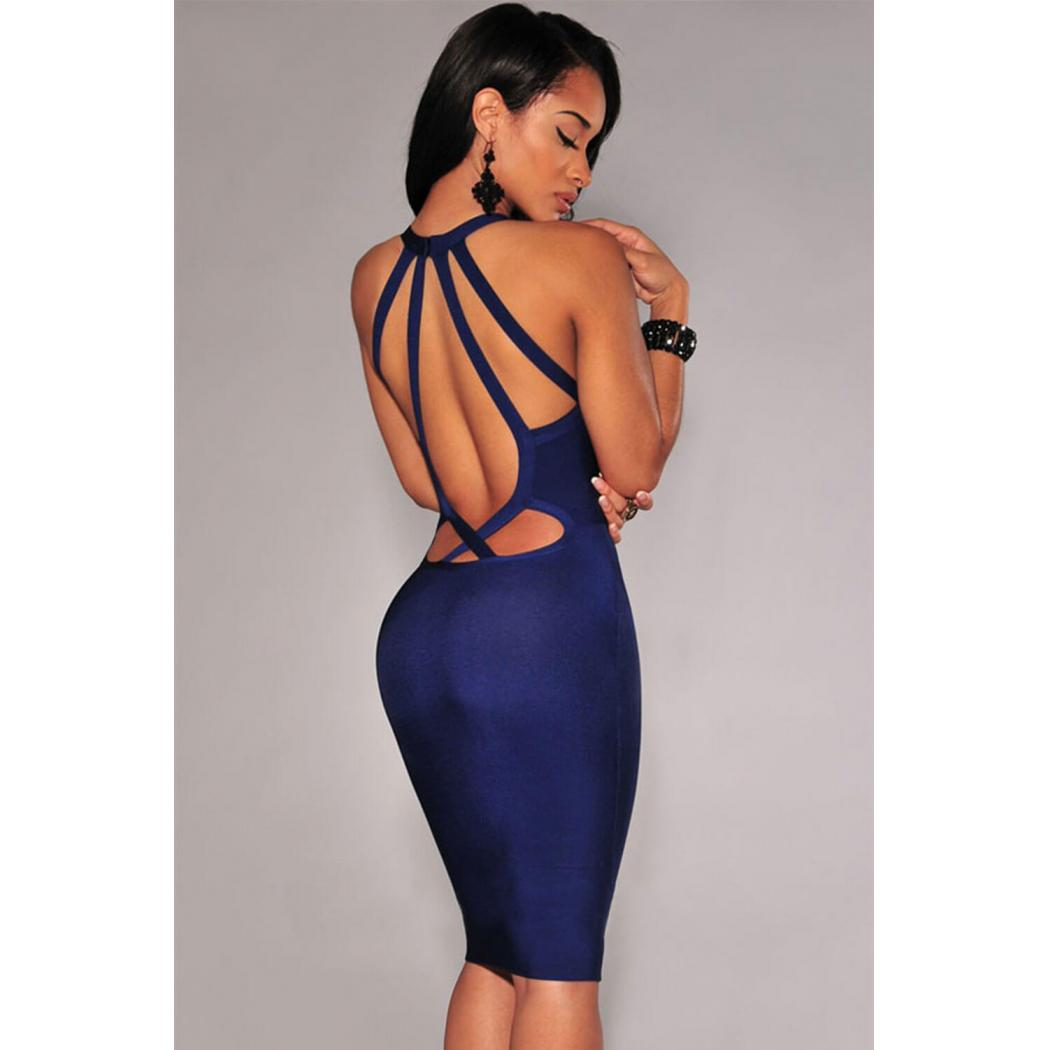 Strappy Cut-Out Back Bandage Dress Back