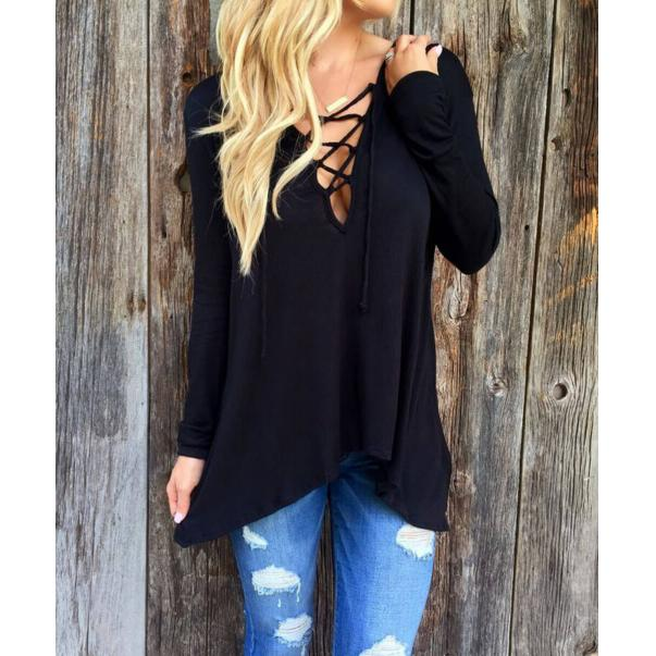 V-Deep With Cap Loose Blouse Black