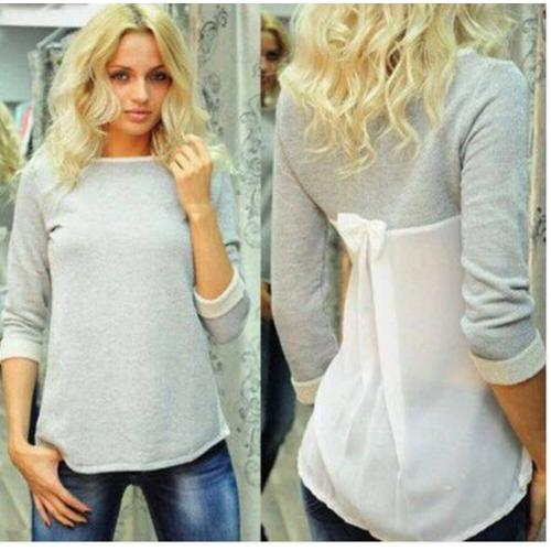 Chiffon Long Sleeve Causal T-Shirt Grey