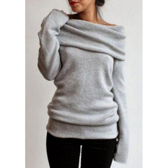 Turndown Collar Long Sleeve Sweater Grey