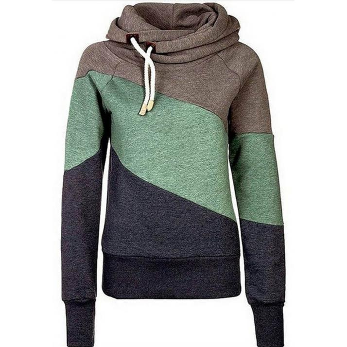 Casual High Neck Layer Hooded Sweatshirt Khaki